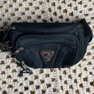 VINTAGE black nylon fanny pack with COMPASS